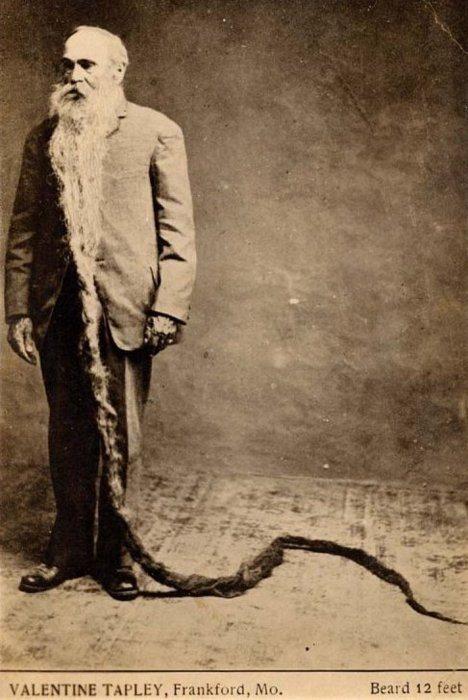 Валентин Тэпли прожил 80 лет и отрастил бороду длиной 3,5 метра.