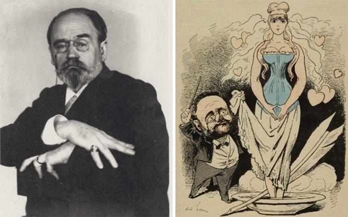 Эмиль Золя и Вальтесс де Ла Бинь. Карикатура.