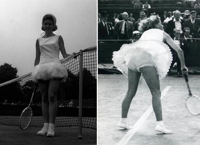 Наряды теннисисток постепенно становились все более откровенными.