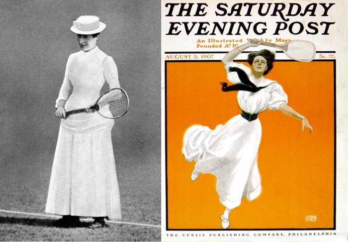 Типичные наряды теннисисток XIX века.