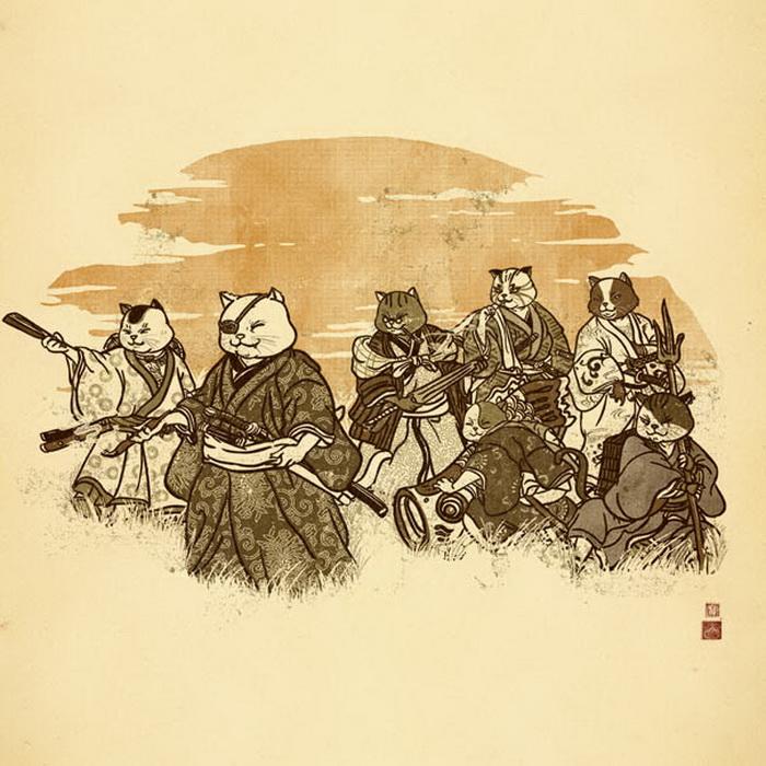 Семь котов-самураев. Забавные иллюстрации Вильяма Чуа (William Chua)