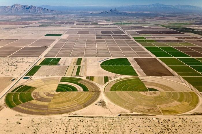 Алекс МакЛин - мастер аэрофотосъемки. Оросительные системы в пустыне штата Аризона, 2004