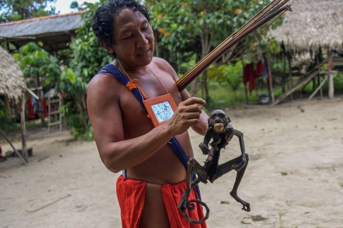 Вождь Джапарупи показывает жареную обезьяну.