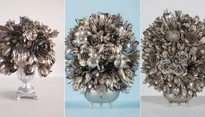 Вазы с цветами из столовых приборов: оригинальные работы Анны Карингтон