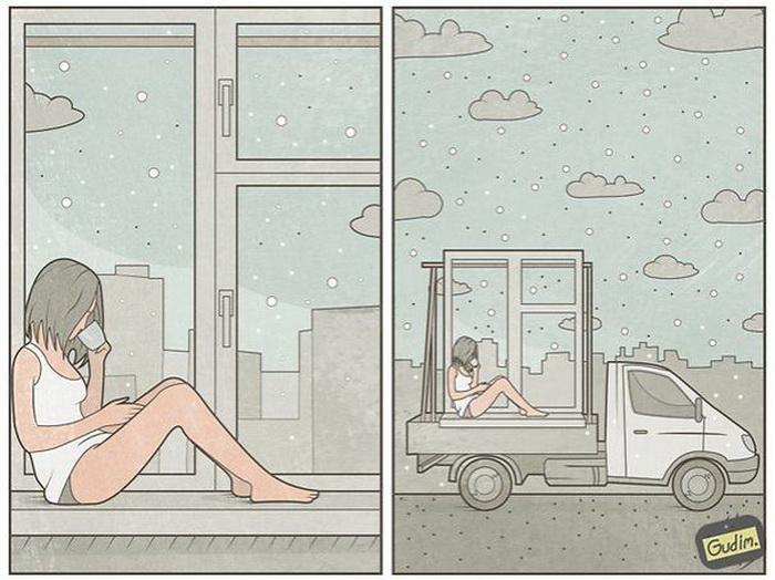 Карикатура на столь популярные фото девушек у окна с чашкой кофе