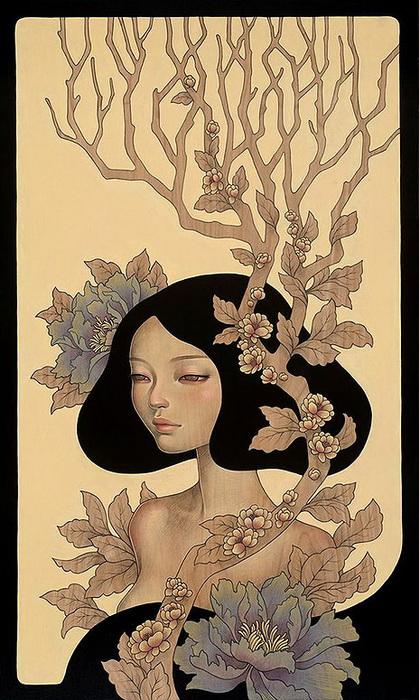 *Мыслитель*. Новые картины от Одри Кавасаки (Audrey Kawasaki)