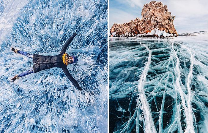 Замерзший Байкал - живописная туристическая достопримечательность