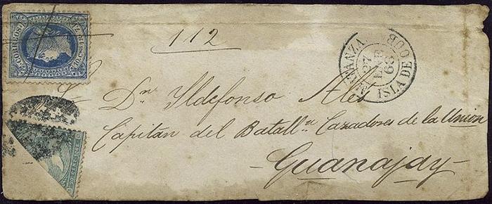 Марка, разрезанная пополам, и целая марка на конверте, отправленном на Кубе. 1868 год.