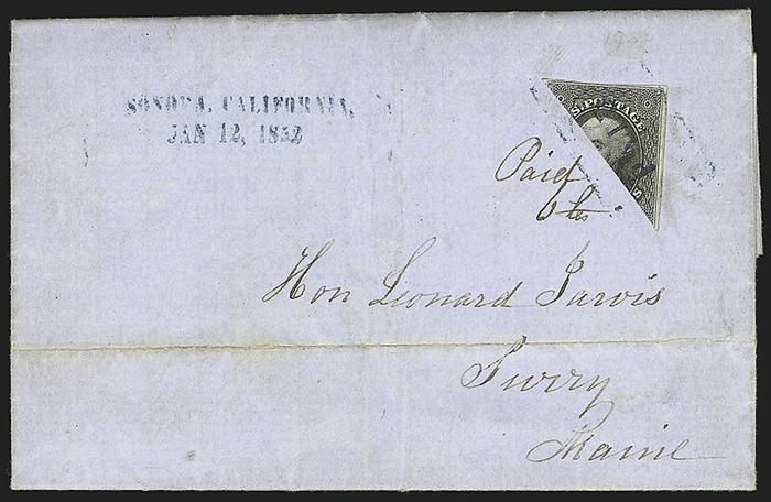 Разрезанная пополам американская марка. 12 января 1852 года.
