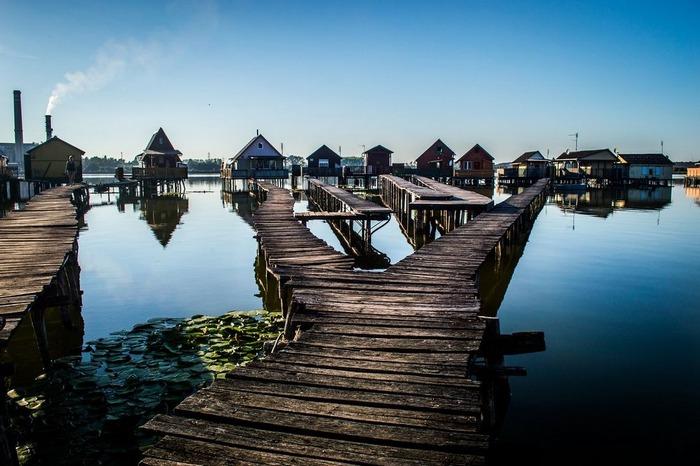 Романтический пейзаж озера Бакоди, Венгрия