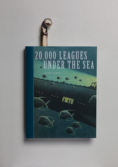 Оригинальная закладка для романа Жюля Верна *20000 лье под водой*