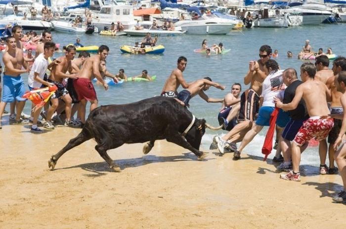 Кульминация фестиваля Bous a la Mar