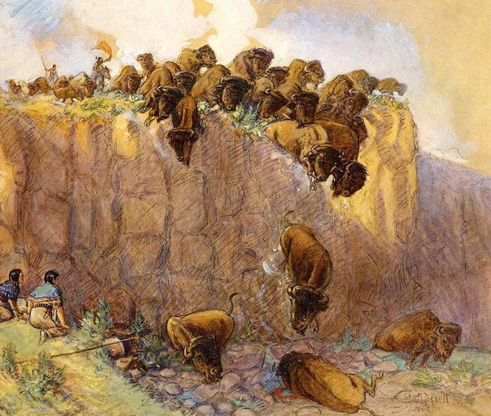 Первобытная охота на бизонов. Картина Чарльза Мариона Рассела
