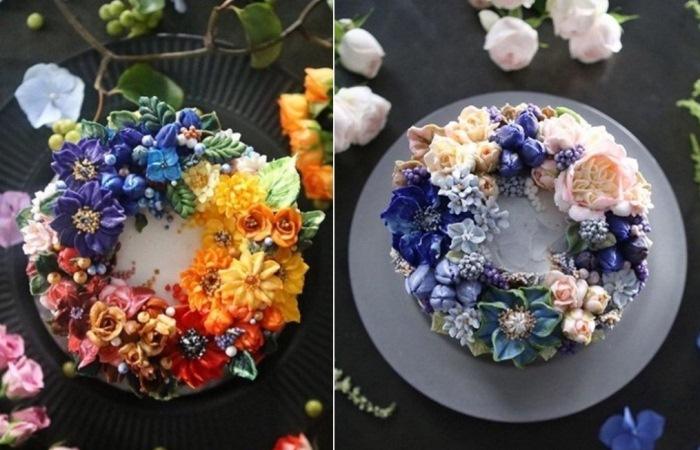 Торты, украшенные цветами из крема
