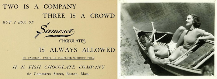 Справа: реклама шоколада Samoset. Слева: кадр из голливудского фильма с Джоэлом Маккри и Морин О'Салливан