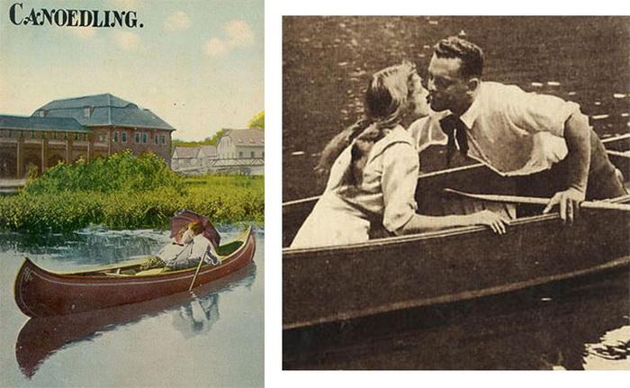 Открытки 1900-х годов, рекламирующие прогулки на каноэ