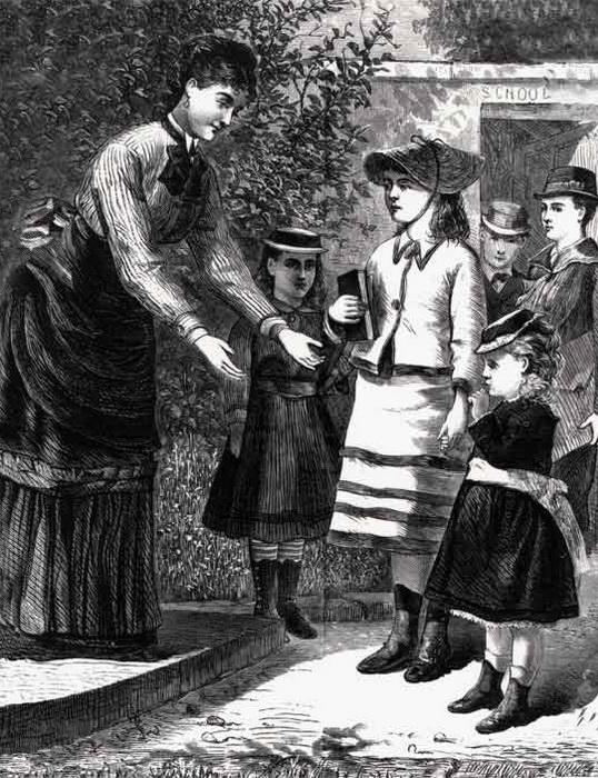 Гравюра XIX века: школьная учительница