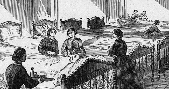 Гравюра, изображающая женщин, ухаживающих за ранеными солдатами в Гражданской войне