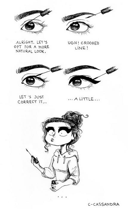 Когда девушка решает нарисовать аккуратные стрелки