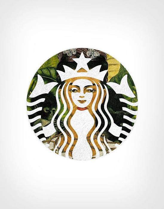 Портрет Фриды Кало и эмблема Starbucks