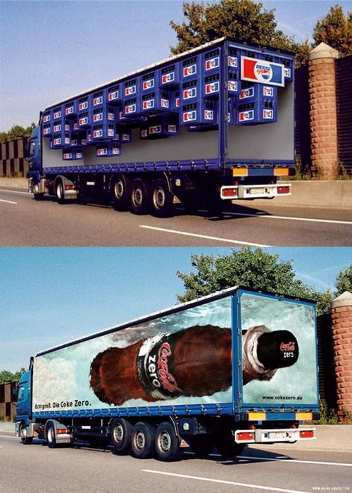 Реклама на грузовиках: Coca Cola vs Pepsi