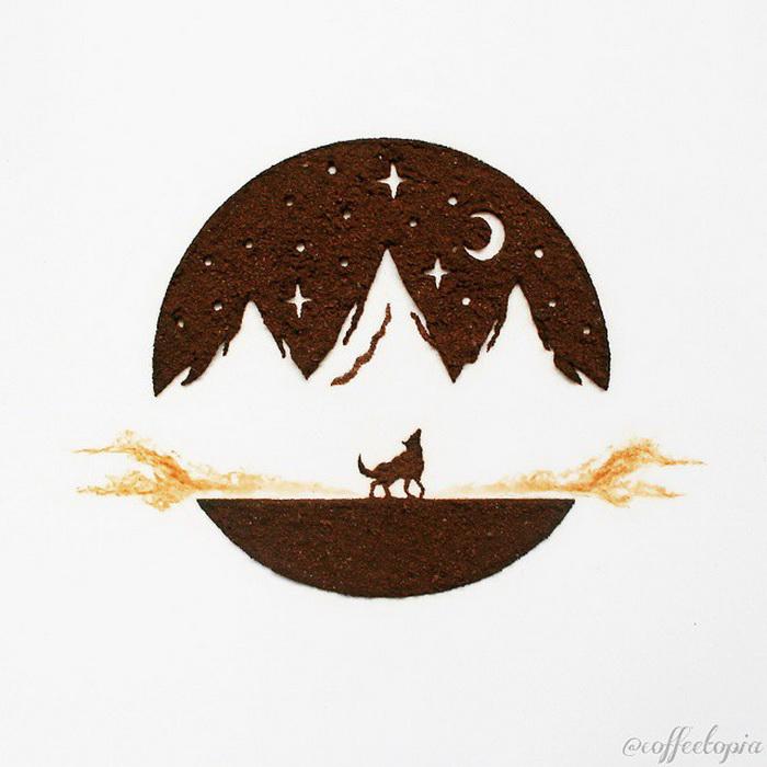 Иллюстрация из молотого кофе