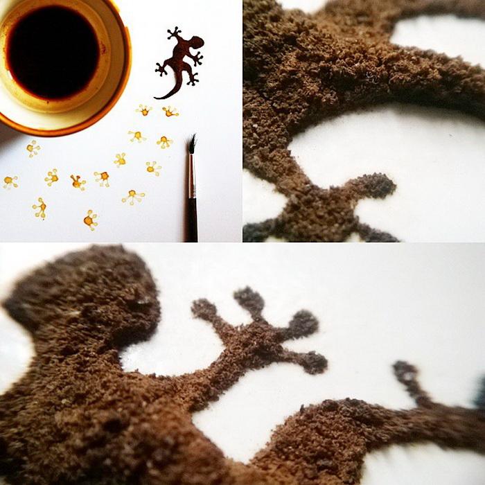 Ящерица из молотого кофе