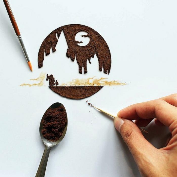 Скоро, рисунок с кофем