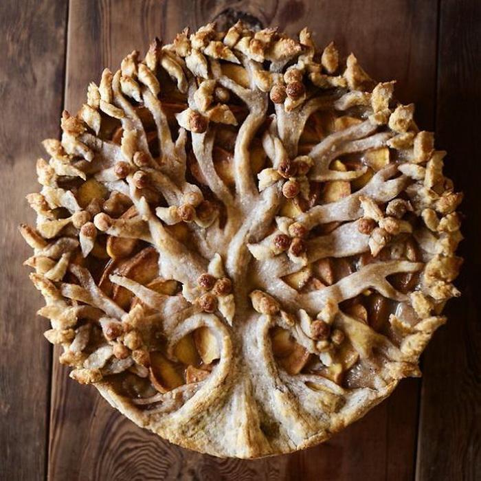 Креативное украшение яблочного пирога