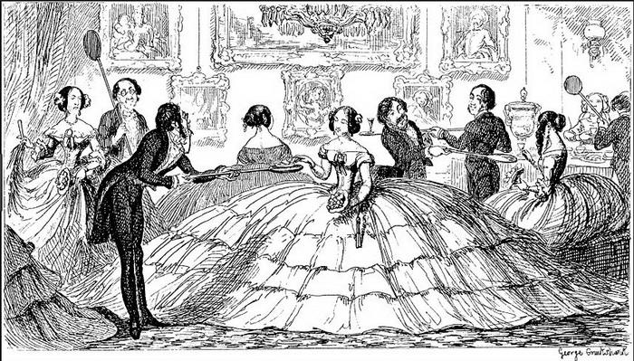 Кринолиновые платья викторианской эпохи.