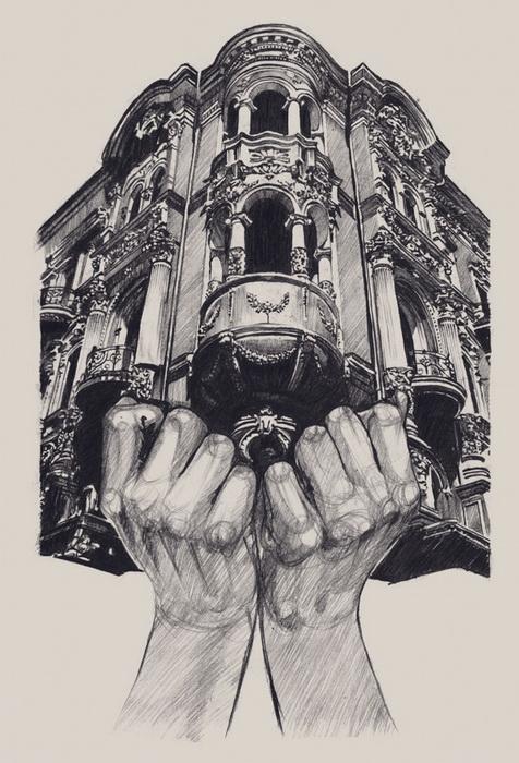 Ладони гармонично дополняют каменные *тела* зданий