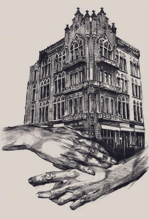 Руки будто бы стремятся защитить памятники архитектуры