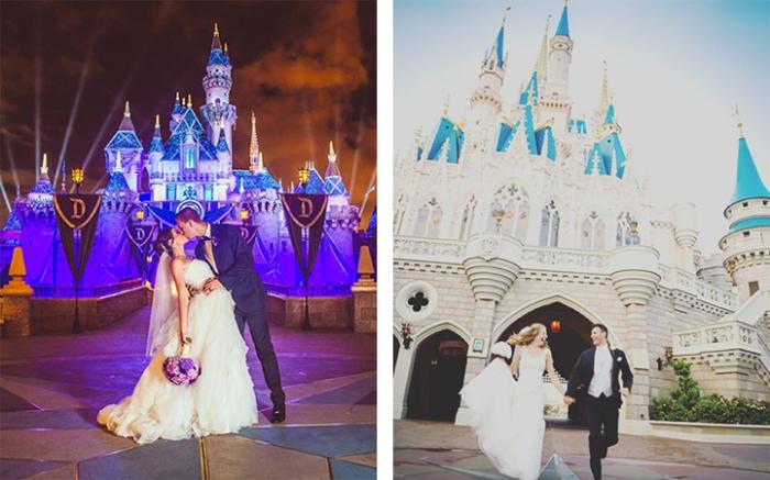 Свадебное фото на фоне сказочного замка