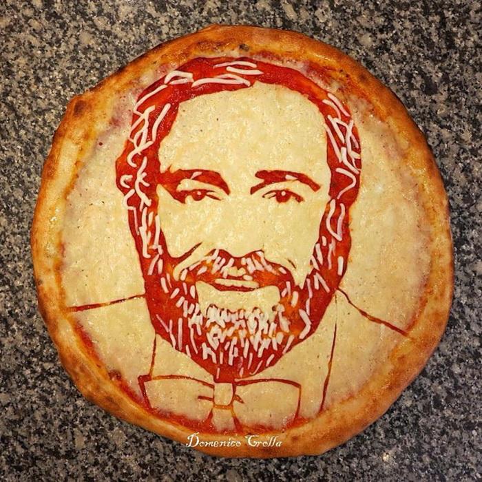 Пицца в виде портрета Лучано Паваротти
