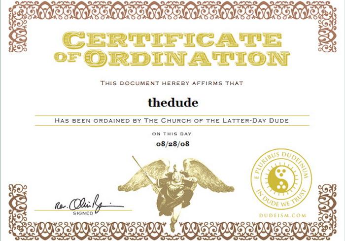 Все адепты веры имеют специальный сертификат