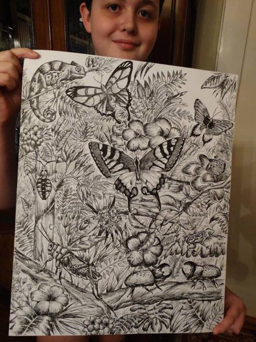 Любимая тема художника - разнообразие флоры и фауны.
