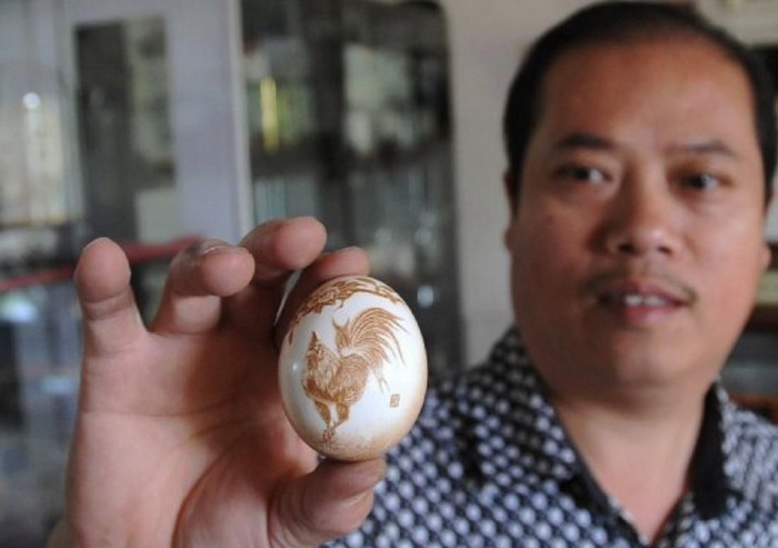 Резьба по яичной скорлупе. Работы китайского художника Pu Derong