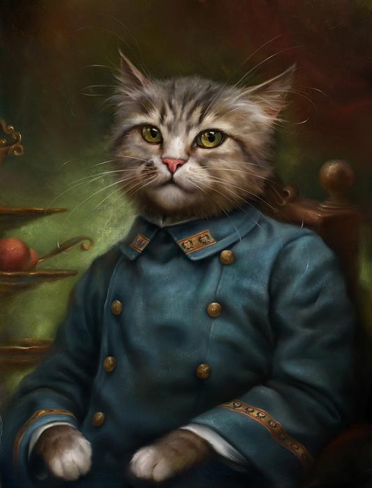 Кот в образе придворного кондитера. Открытки Эльдара Закирова