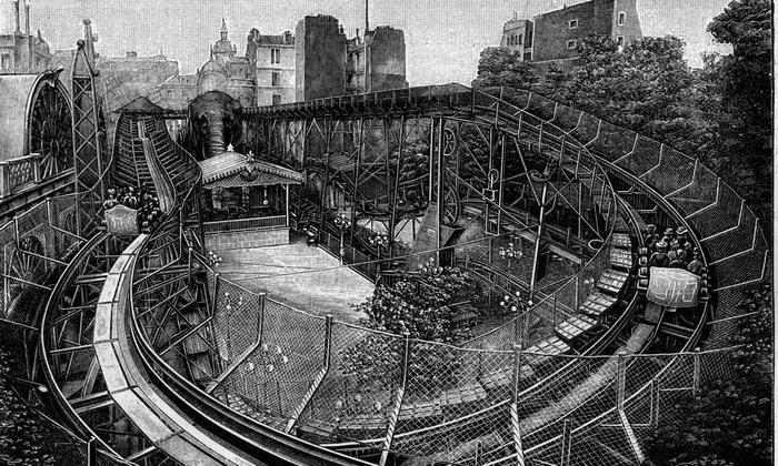 Американские горки, построенные вокруг гигантского слона, Париж, 1900 год