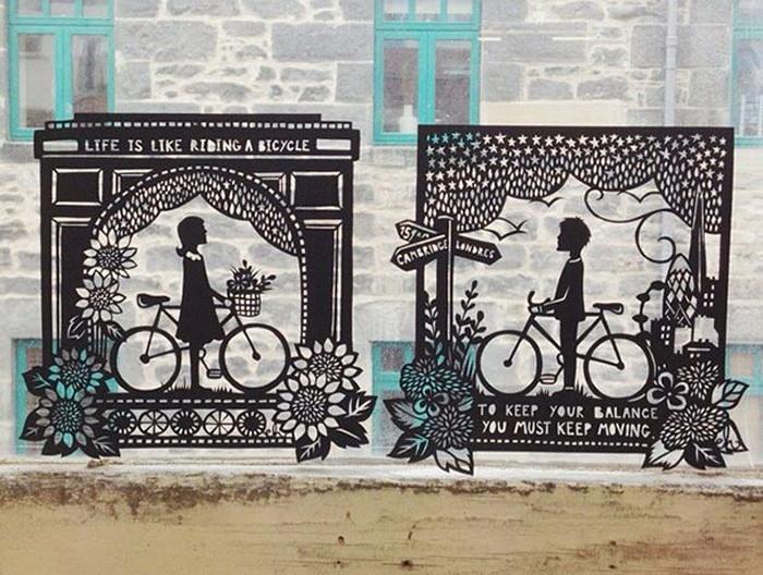 Жизнь как прогулка на велосипеде: чтобы не упасть, нужно продолжать двигаться. Очаровательные бумажные миниатюры от Эмили Хогарт (Emily Hogarth)