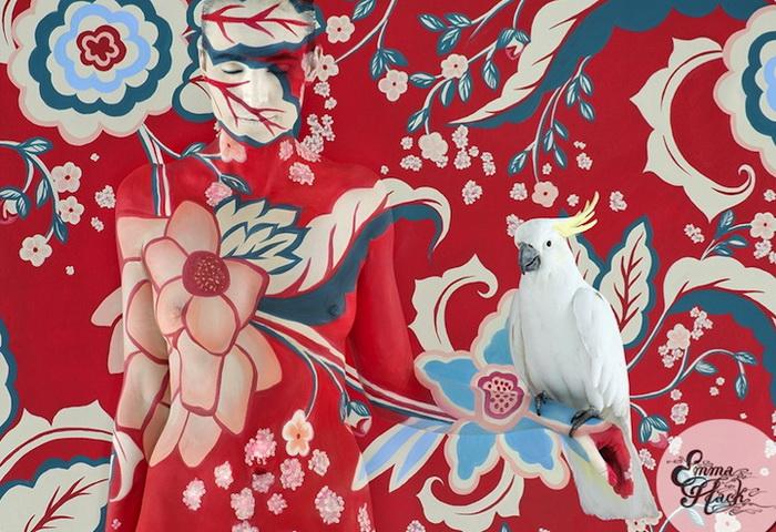Цветочные мотивы и живые птицы в проекте Эммы Хэк (Emma Hack)
