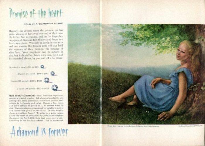 De Beers запустили рекламу колец с бриллиантом, Readers Digest, август, 1960.
