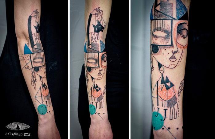 Татуировки в стиле кубизма: творчество арт-дуэта Expanded Eye
