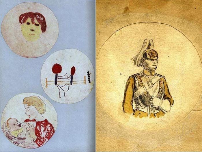 Рисунки на чашках Петри от Александра Флеминга.
