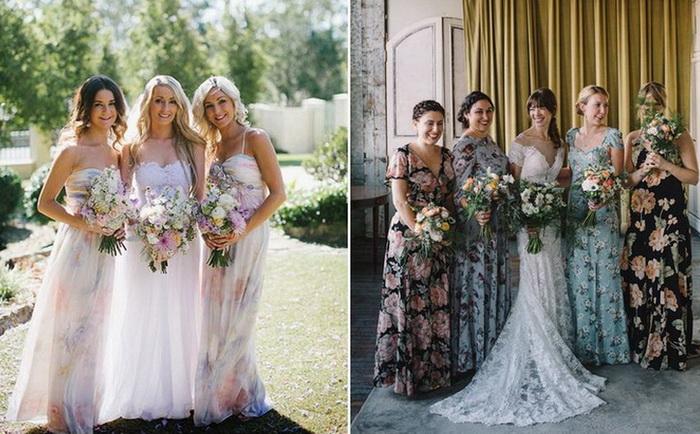 Цветочные платья для подруг невесты — новый свадебный тренд
