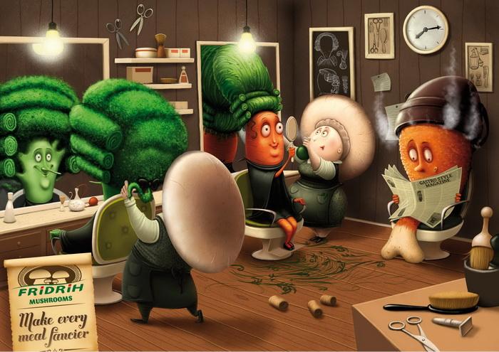 Реклама магазина свежих грибов Fridrih Mushroom