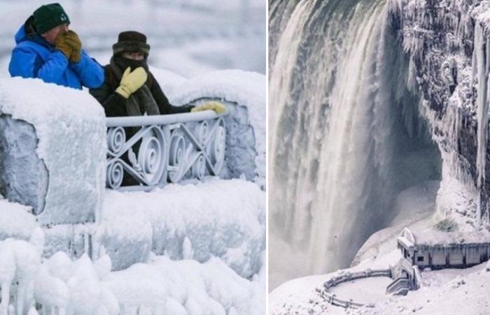 Замерзший водопад Ниагара - уникальное природное явление.