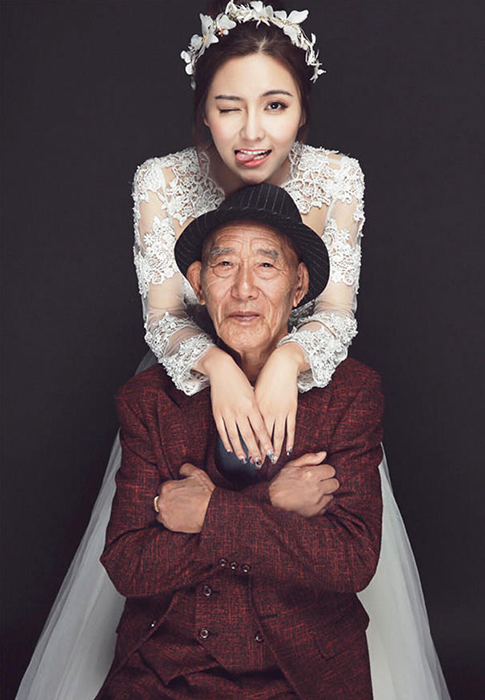 Fu Xuewei с любимым дедушкой.