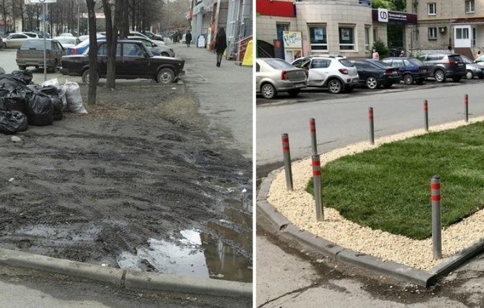 Газон в Челябинске: до и после ремонта.