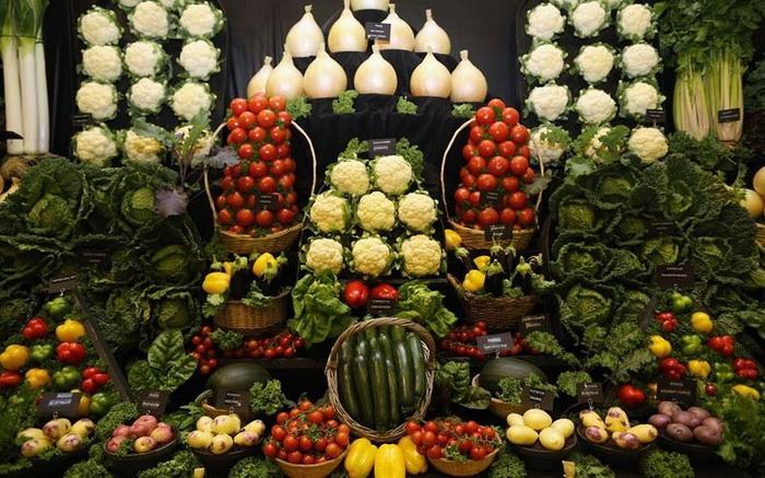 Живописная овощная композиция на выставке в Харрогейте